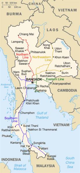 右上の黄色い路線がタイの東北線