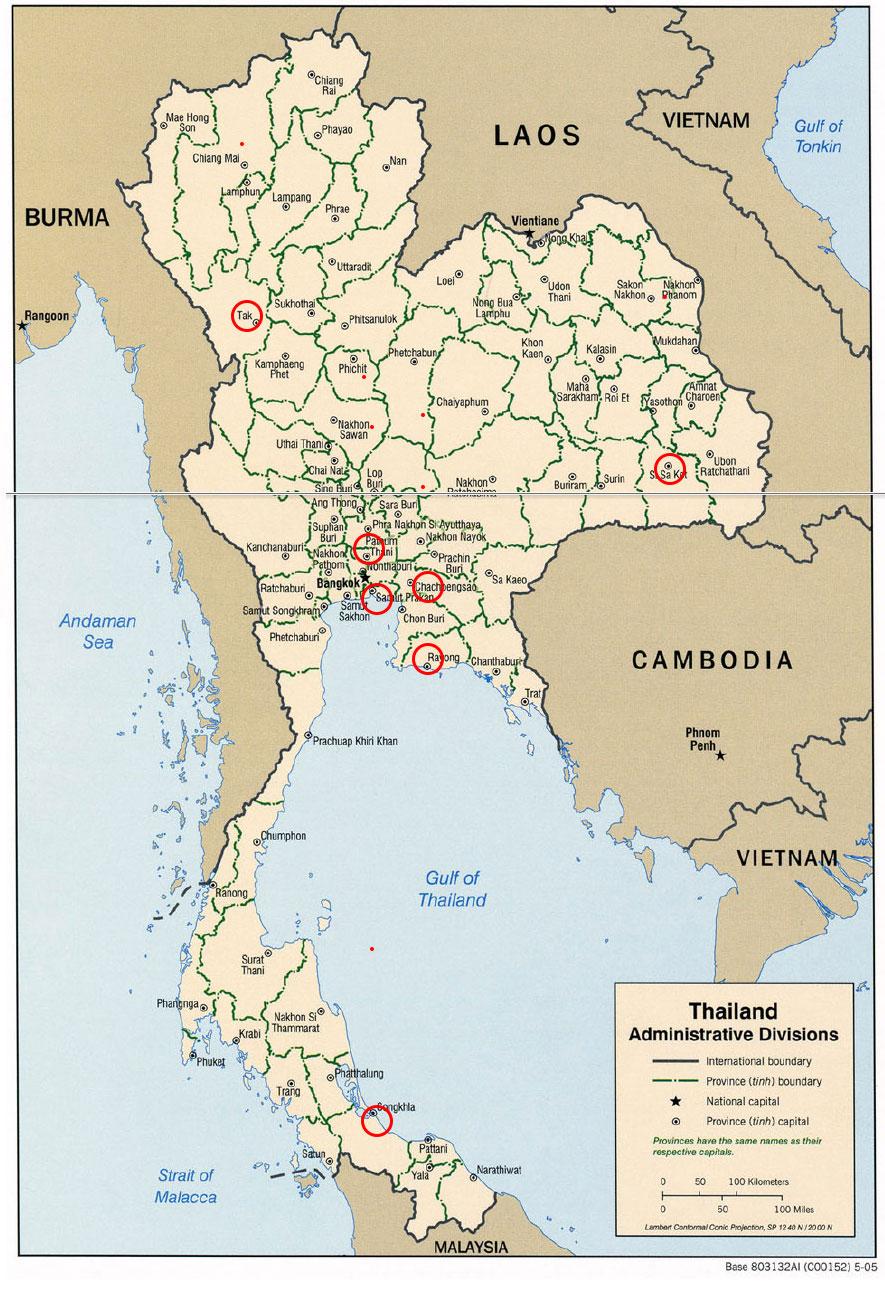 ※地図に狂犬病死亡者発生エリアを付け加えました。地図出所:テキサス大学ウェブサイト